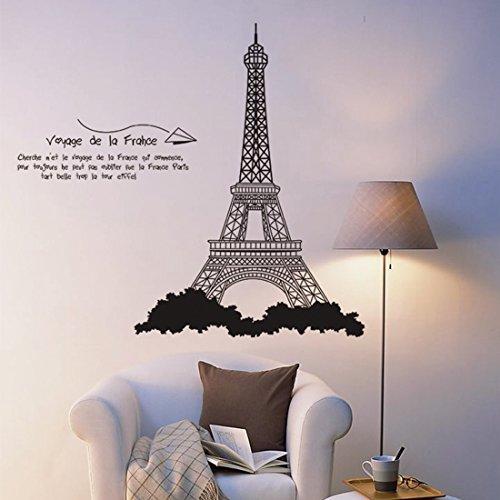 Fashionbeautybuy - Adesivo da parete con torre Eiffel di Parigi, rimovibile, per soggiorno, camera da letto, cucina, decorazione in PVC, con adesivo 3D per auto, idea regalo