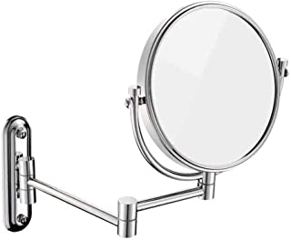 8 Inch Two Sided Wall Mount Magnifying Mirror 3X Magnification, Double-Sided Swivel, Chrome Finish 5CD1 (Color : Stainless Steel)