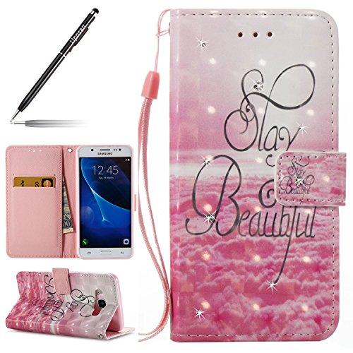 Uposao Kompatibel mit Samsung Galaxy J5 2016 Handyhülle Lederhülle Wallet Case Glänzend Glitzer Strass Diamant Bookstyle Schutzhülle Bunt Muster Ledertasche Klapphülle Flip Cover,Rosa