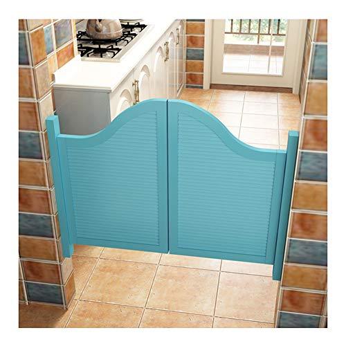 CAIJUN Swinging Doors Cafe Doors Saloon Gate Bar Door Thicken Solid Wood Spring Door Automatic Closing Louver Design, Customizable (Color : A, Size : 115x90cm)