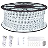 LED Rope Lights Outdoor Waterproof ,SURNIE 150ft Daylight White Dimmable LED Strip Light 6500K Cuttable Connectable LED Lights for Bedroom ,Stairs ,Deck,Backyards ,Commercial Use Indoor Outdoor Lights