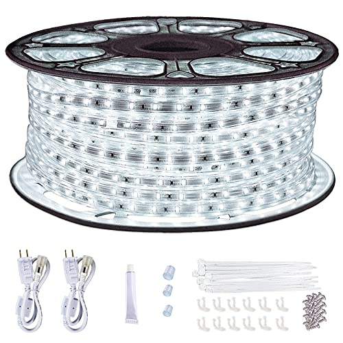 LED Rope Lights Outdoor Waterproof ,SURNIE 150ft Daylight White Dimmable LED Strip Light 6500K Cuttable Connectable LED Lights for Bedroom ,Stairs...