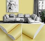 GLOBALDREAM Papel Tapiz Amarillo, Etiqueta Engomada de Papel Pintado PVC Impermeable Autoadhesivo para Muebles Cocina Baño Sala de Estar, 40cm x 10m
