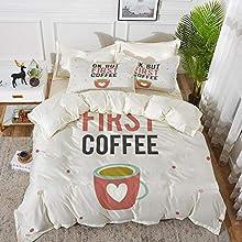 Juego de cama, microfibra,Palabras graciosas, OK, pero la primera taza de café con forma de corazón sobre fondo de lunares, multicolo,1 juego de funda nórdica 200 x 2002 fundas de almohada 50x80cm