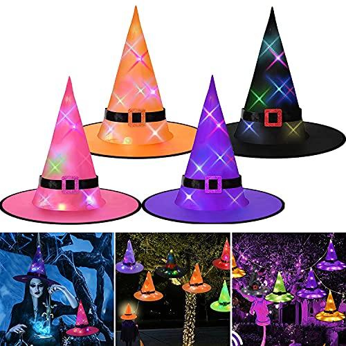 kekechaoran 4 Sombreros de Bruja para decoración de Halloween, Luces de Sombrero de Bruja, Luces Colgantes Decorativas de Halloween