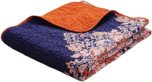 "Exclusivo Mezcla Luxury Reversible 100% Cotton Paisley Boho Stripe Quilted Twin Size Bed Blanket 60"" x 80"" Machine Washable and Dryable"