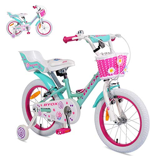 Byox Kinderfahrrad 16 Zoll Cupcake, Stützrädern, Puppensitz, Korb, Metallrahmen, Farben:pink