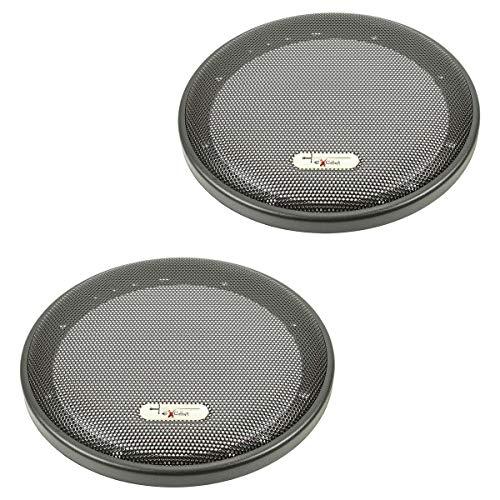 tomzz Audio Excalibur 2800-002-1 - Rejilla de altavoz para altavoces DIN de 165 mm, 2 unidades, anillo de plástico con rejilla de metal
