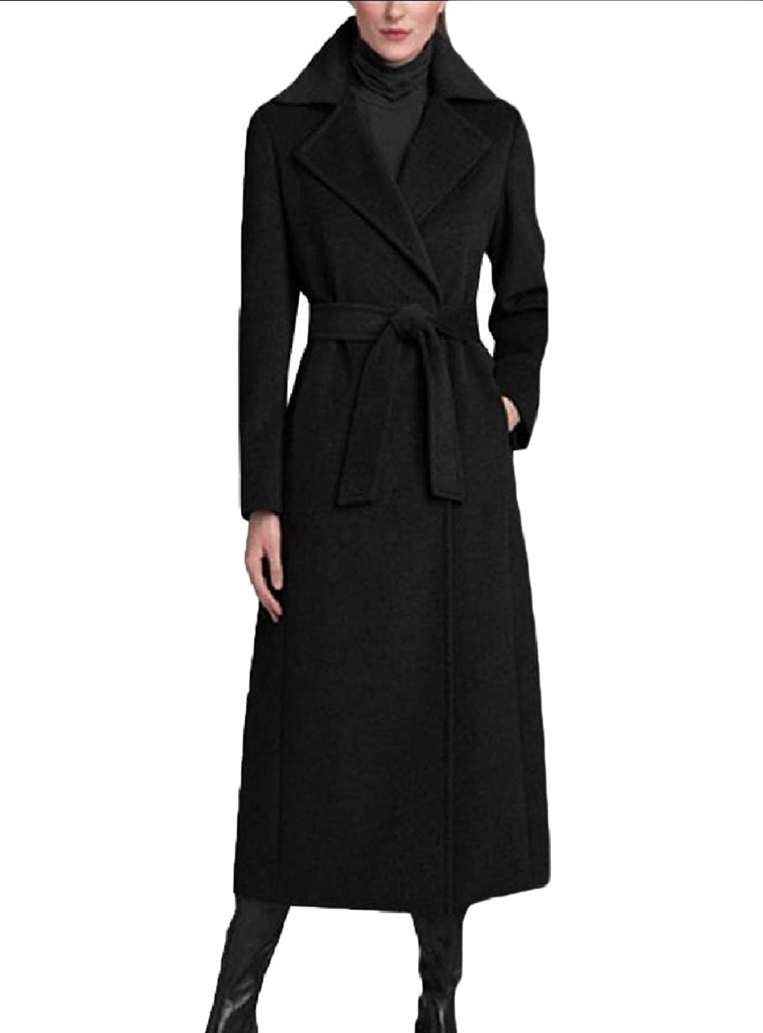 Tootca Womens Classic Premium Long Wool Notch Lapel Fall Woolen Coat