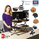Height Adjustable Standing Desk Adjustable Laptop Stand Converter/ 21' Laptop Cozy Desk Aluminum Laptop Table Sit Stand/Lightweight Desktop Sit to Stand in Seconds/Home &Office/Black (Black)