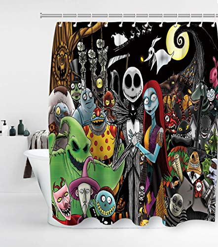 Nightmare Before Christmas Shower Curtain Jack and Sally with 12 Hooks Halloween Decor Waterproof Washable and Durable Polyester Fabric Kids Bathroom Set Decor Sets Washable 72 x 72 inches