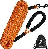 Taglory Schleppleine 10m für Hunde, Hundeleine mit Gepolsterten Griff, Trainingsleine für Kleine bis Große Hunde, Orange