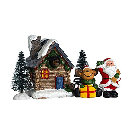 QPURP Christmas Village House Building and Accessories Forest Holiday Village and Santa Claus,Reindeer Figurine Set