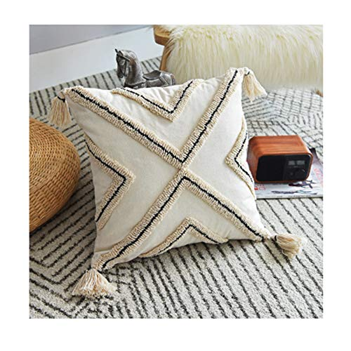 Decorative Throw Pillow Cover Woven Tufted Cushion Cover with Tassels Super Soft Square Pillowcase Cushion Case for Sofa Couch Bedroom Car Living Room 18X18 Inch, 12X20 Inch,b,45 * 45cm