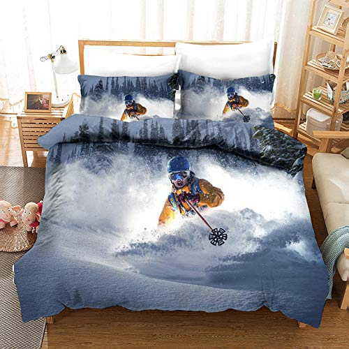 aakkjjzz Duvet Cover King Size Ultra Soft Bed Set with Zipper Closure 100% Polyester Quilt Cover and 2 Pieces Pillowcases Machine Washable Ski for Bedroom Daybed 230X220cm
