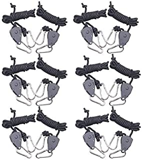 6-Pairs Zazzy 1/8 Inch Heavy Duty Adjustable Grow Light Rope Clip Hanger Rope Hanger