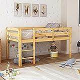 MWKL Neuestes Hochbett Twin, Klassisches Niedriges Hochbett aus Holz mit Leitplanke und Leiter, Kinderhochbett für Jungen, Mädchen, einfache Montage