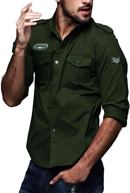 DOGZI Camisas Militar Hombre - Manga Larga Casual Slim Fit botón Militar Bolsillo Ropa de Trabajo Camiseta