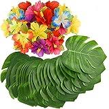 SunTop 60 Piezas Decoraciones para Fiestas Tropicales Hojas de Palmeras Tropicales Monstera y Flores de Hibisco