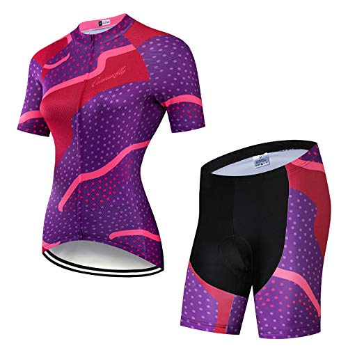 Women's Cycling Quick Dry Short Sleeve Breathable Jersey Set 3D Padded Bike Shorts Bike Shirt Bicycle MTB Tights Clothing Sportswear Set for Race Bike Bicycle Team QXF-3,F,M