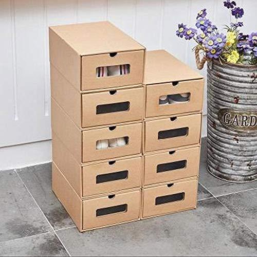 MorNon 10 × Cajas Zapatos Organizador Cajón Almacenamiento Plegable Apilable Cartón Visible