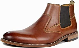 SHENYUAN Men's Chelsea Boots High Top Shoes Slip-on Elastic Winter Fleece Lined Keep Warm Genuine Leather Flat Round Toe Casual Anti-slip Work or Casual Wear (Color : Brown, Size : 50 EU)