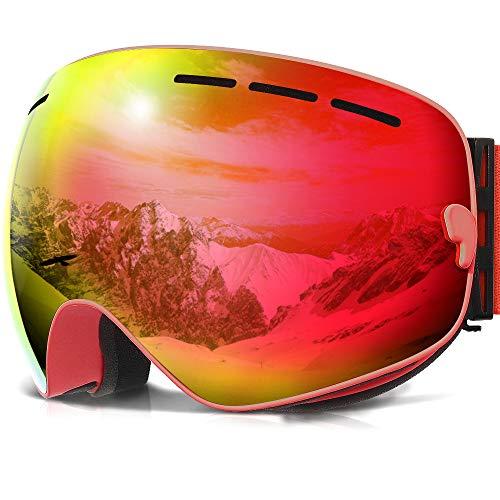 Skibrille ,COPOZZ G1 Ski Snowboard Brille Brillenträger Schneebrille Snowboardbrille Verspiegelt - Für Damen Herren Frauen Jungen - Mit Sehstärke OTG UV-Schutz Anti-Fog Rot