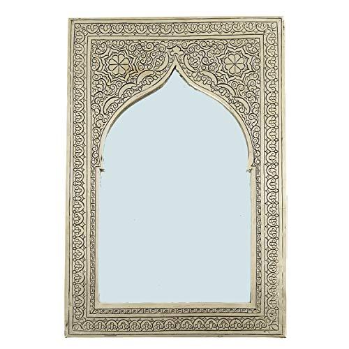 Casa Moro | Espejo de Pared marroquí Hecho a Mano Assiya 37 x 24,5 cm Plata Rectangular artesanía de Marrakech Espejo de latón para Hermosa decoración y Idea de Regalo | SP9119