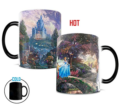 Disney Princess - Cinderella - Wishes Upon a Dream - Morphing Mugs Heat Reveal Ceramic Coffee Mug - Image revealed when HOT liquid is added - 11 Ounces
