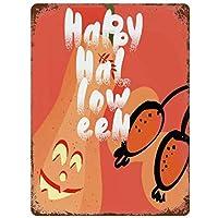ヴィンテージレトロメタルブリキサイン壁の装飾アートハッピーハロウィン笑顔カボチャイラスト家の装飾プラークポスター男-20x30cm