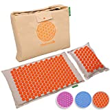 Back Massager Mat Pillow Set: Back and Neck Pain Acupressure Mats, Reflexology, Eco Natural Organic, 3 New Items Limited Time Price (Reg. $80) Help Sciatica, Triggers Point Acupuncture