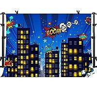 スーパーヒーロー 都市景観 写真背景 10x7フィート スーパーヒーローシティフォトブース背景 誕生日パーティー MME 背景 ZYME0353