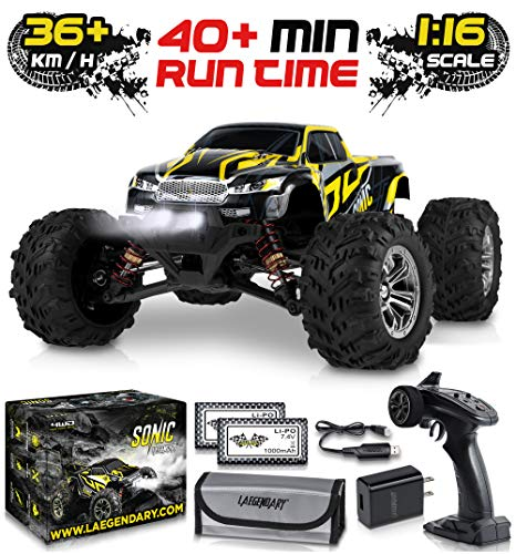 1:16 Scale Large RC Cars 36+ kmh Speed - Boys Remote Control Car 4x4 Off Road Monster Truck Electric - All Terrain Waterproof Toys Trucks for Kids and Adults - 2 Batteries + Connector for 40+ Min Play