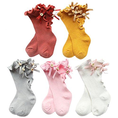 XPX Garment Baumwolle Bogen Neugeborenen Knie Kniestrümpfe Für Baby Mädchen Rüschen Kleinkind Lange Socken 0-5 Jahr