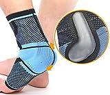 oxoxo sports Fußbandage mit beidseitigen Silikon-Massagekissen zur muskulären Stabilisierung des Sprunggelenks – Kompression und ergonomische Passform