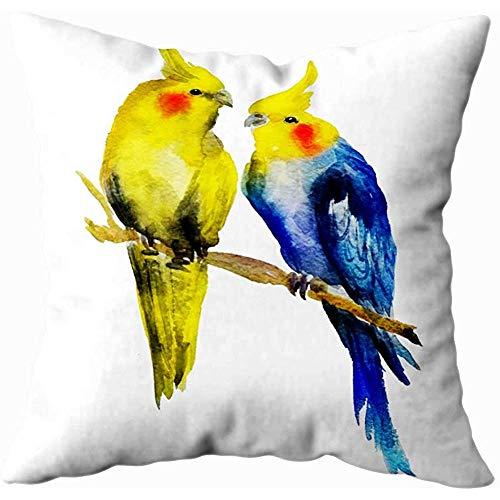 July Soft kussensloop Aquarel Papagei paar Valentijnsdag Outdoor kussenslopen