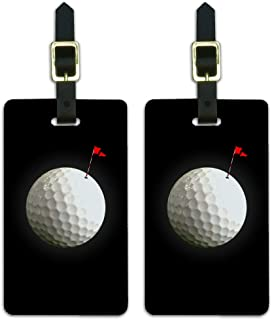 Golf Ball Moon Flag Golfing Luggage ID Tags Suitcase Carry-On Cards - Set of 2