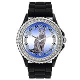 Timest - Gato Azul Ruso Reloj de Silicona Negro para Mujer con piedrecillas Analógico Cuarzo SG1982