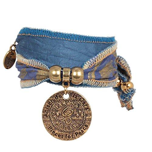 Anisch de la Cara Damen Armband Blue Lion - Hakuna Matata Wickelarmband aus Langapalu-Stoff Hakuna Matata - ArtNr. 4400-c