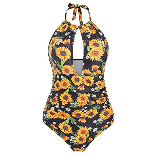 Bikini Set Dames Grote Maten Retro Zonnebloem Bloemenprint Goedkope Surf Bikini Push Up Badpak Strandjurk Over Badpak Halter Bikini