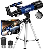 Emarth Telescope, Travel Scope, 70mm Astronomical Refracter Telescope with...