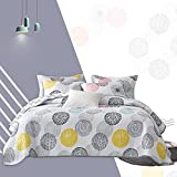 Quilt Set Bed in a Bag 7 Piece Colorful Dots Queen Size Summer Bedspread Coverlet with (1 Reversible Quilt 88x88, 2 Pillow Shams, 1 Flat Sheet, 1 Fitted Sheet, 2 Pillowcases)