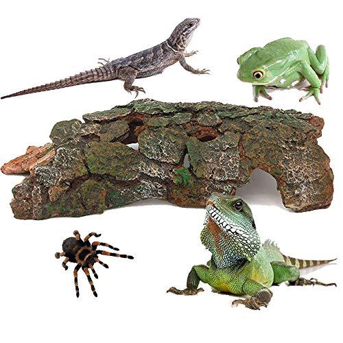 WAZA Reptile Habitat Decor Hideouts Critter Cavern Bark Bends Resin Ornament Hiding Place