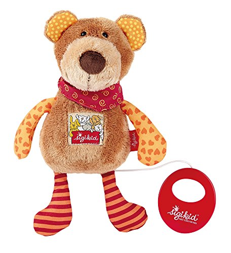 sigikid, Fille et Garçon, Peluche Musicale, Peluche Ours, Red Stars Collection, Marron, 40357