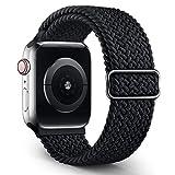 Jiamus Geflochtenes Solo Loop Armband Kompatibel mit Apple Watch Armband 38mm 40mm 42mm 44mm,Elastic Sport Dehnbarer Ersatz Armband für iWatch Series 6/SE/5/4/3/2/1 Herren Damen
