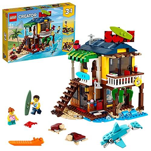 LEGO 31118 Creator 3en1 Casa Surfera en la Playa, Faro o Casa de la Piscina, Juguete de Construcción para Niños +8 Años, Idea de Regalo Creativa