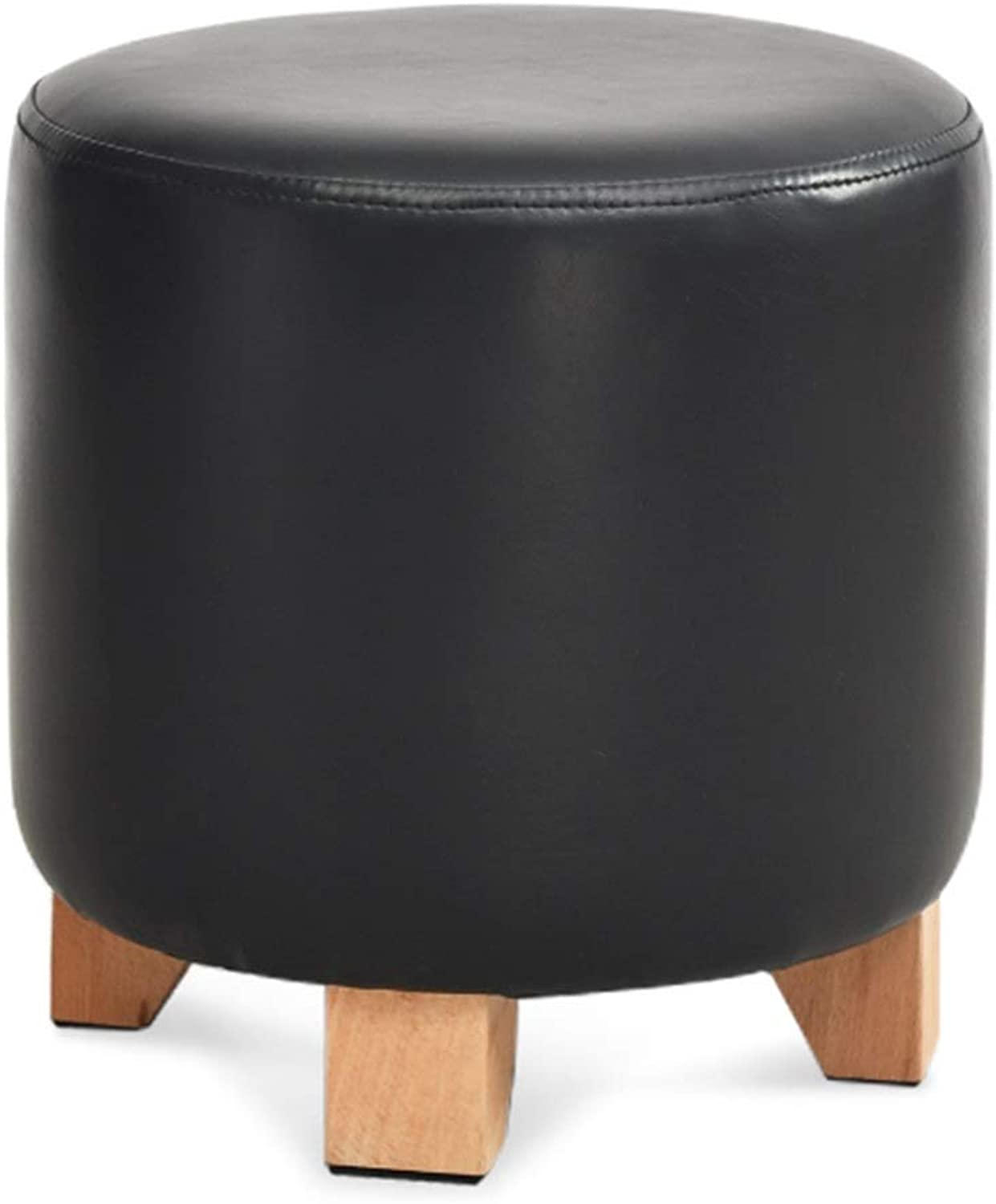 Pouffes and Footstools Home Cylindrical State Seat Low Stool Comfortable Soft PU Solid Wood, 3 colors ( color   Black , Size   29x29x29cm )