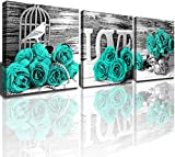 Bedroom Wall Decor Turquoise Wall Art Pictures Teal Canvas Prints for Couples Bathroom Living Room Artwork 3 Pcs/Sets Black and White Rose Flower Painting Kitchen Home Decoration Accessories 12 x 12'