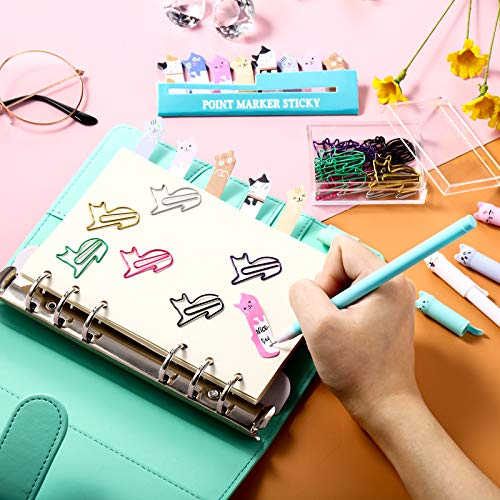 Cute Cat Stationery Set, 1 Canvas Telescopic Pen Holder Transformer Pencil Case, 6 Colorful Cat Black Gel Ink Pens, 30 Cat Shaped Paper Clips Bookmark and 240 Cat Sticky Notes Page Flags Index Tabs Photo #3