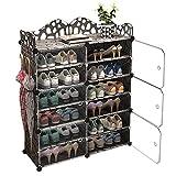 C.G Life 6-Tiers Stackable 24-30 pairs Freestanding Shoe Storage Cabinets with Adjustable Shelving,Black Shoe Shelf Organizer for Bedroom, Closet, Entryway, Dorm Room,Garage,Shoe Rack have 6 cubes